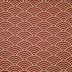Dark red Japanese fabric with gold waves patterns