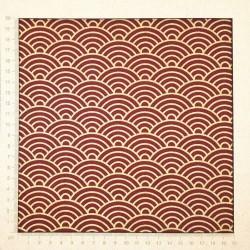 Tissu japonais vagues dorées sur fond rouge foncé