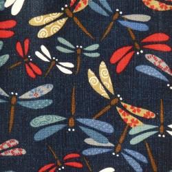 Tissu japonais enduit libellules colorées sur fond indigo