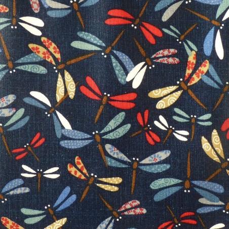 Coton enduit japonais libellules colorées sur fond indigo