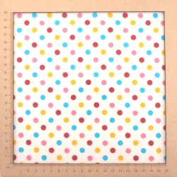 Laminated fabric white with colorful dots