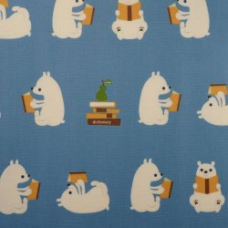 Laminated fabric bears and books on blue background