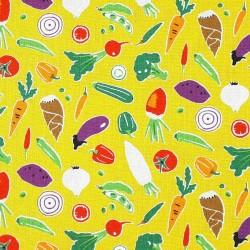 Tissu coton jaune légumes pour coudre des sacs à vrac