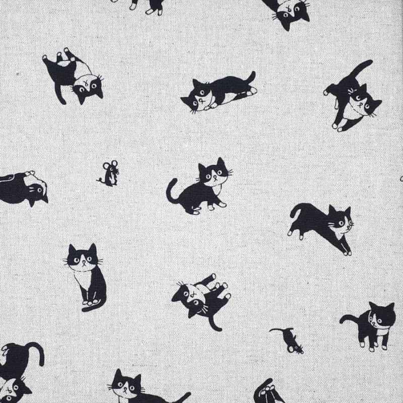 Cotton linen fabric with black and white cats