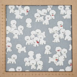 Bichon frise fabric in gray cotton-linen