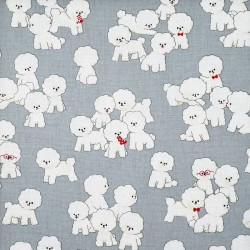 Bichon frise fabric in gray cotton-linen
