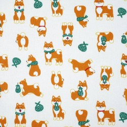 Japanese shiba dogs fabric on creme white cotton