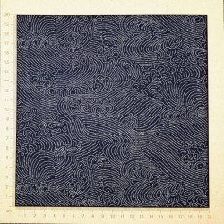 Tissu japonais fond bleu noir vagues en points blancs murahito