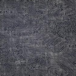 Tissu japonais fond bleu noir vagues en points blancs