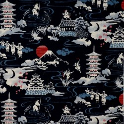 Japanese fabric dark blue with castles Mt Fuji and ninja warriors