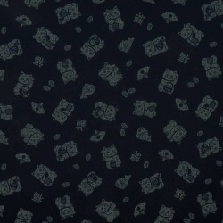 Japanese fabric with manekineko on dark blue indigo