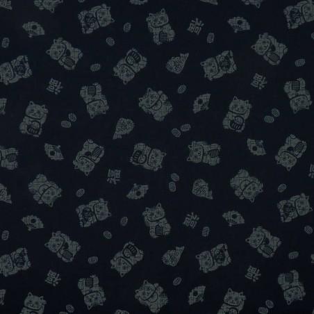 Japanese fabric with manekineko on dark blue indigo