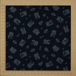 Tissu japonais bleu nuit manekineko chats porte-bonheur