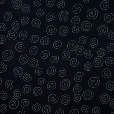 Japanese fabric with spirals on dark blue indigo