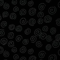 Japanese fabric with spirals on dark blue indigo