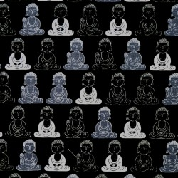 Black Japanese Buddha fabric