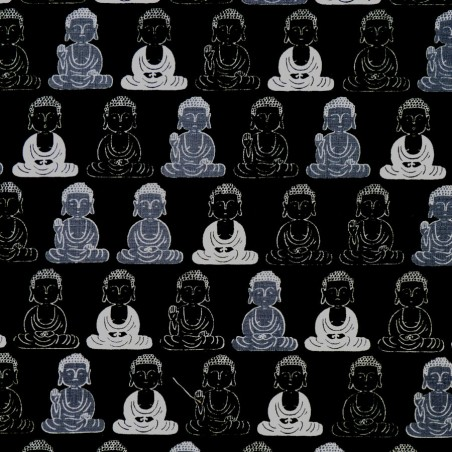 Black Japanese Buddha fabric