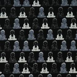 Tissu Bouddha noir en coton import Japon