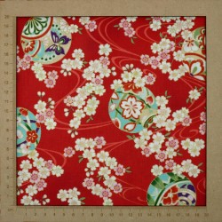 Red japanese fabric cherry blossom and temari