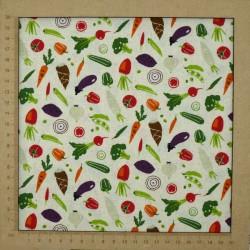 Tissu légumes fond beige en coton