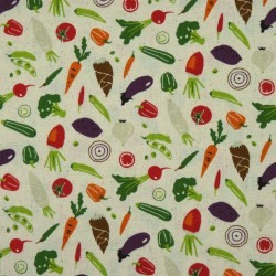 Vegetables fabric beige