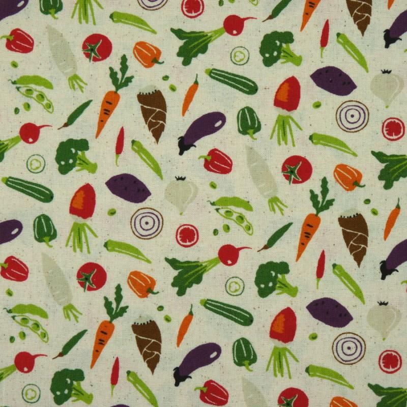 Tissu légumes sur fond beige idéal couture sacs à vrac