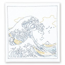Kit sashiko napperon blanc La Grande Vague de Hokusai