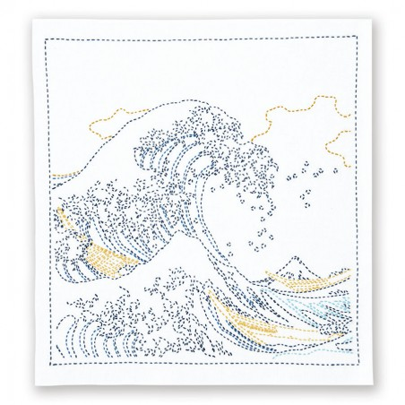 Kit sashiko napperon blanc La Grande Vague de Hokusai