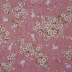 Japanese fabric with rabbits and cherry blossoms