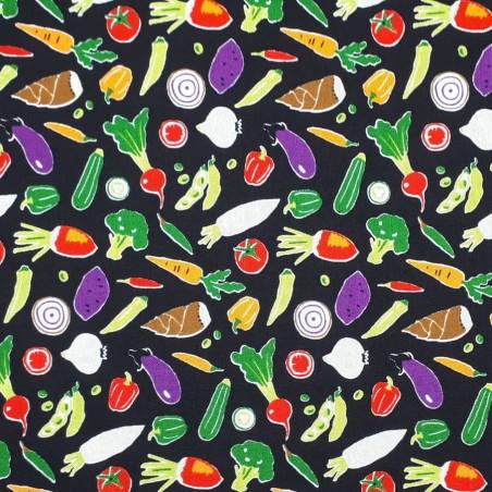 Tissu légumes sur fond noir idéal couture sacs à vrac