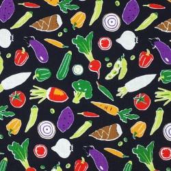 Tissu légumes fond noir en coton