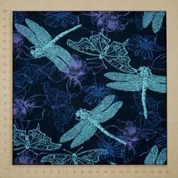 Jersey viscose libellules et fleurs sur fond bleu nuit