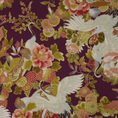 Japanese fabric with cranes and flowers on a plum background