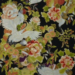 Japanese fabric with cranes and flowers on a black background - by the meter