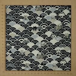 tissu japonais moderne en coton lin avec chats rigolos et vagues seigaiha noir