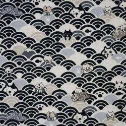 tissu chats et vagues seigaiha fond noir