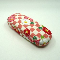 Hard glasses case with camellia flowers and checkered patterns