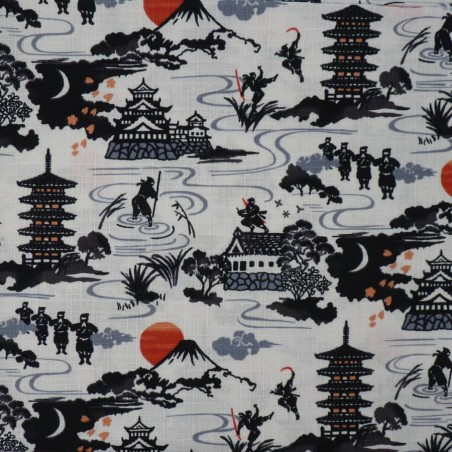 Japanese fabric with castles Mt Fuji and ninja warriors on white background
