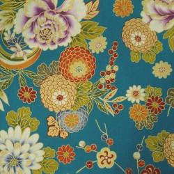 Tissu japonais pivoines et chrysanthèmes sur fond bleu canard avec du doré