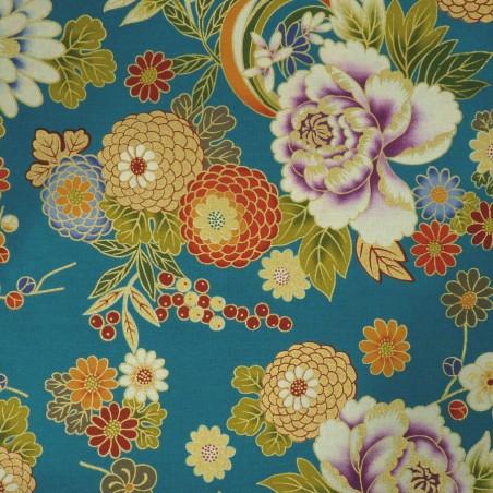 Tissu japonais bleu canard pivoines et chrysanthèmes avec du doré