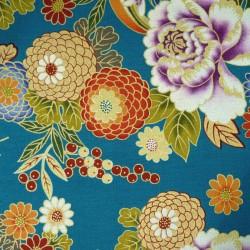 Tissu japonais fleurs de pivoines et chrysanthèmes sur fond bleu canard