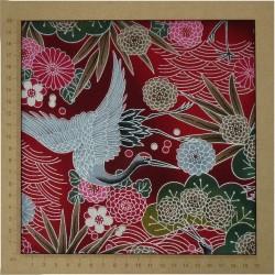 tissu grues feuilles et fleurs sur fond fuchsia 100% coton