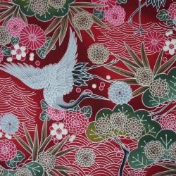 Japanese fabric cranes and flowers on fuchsia - 100% cotton