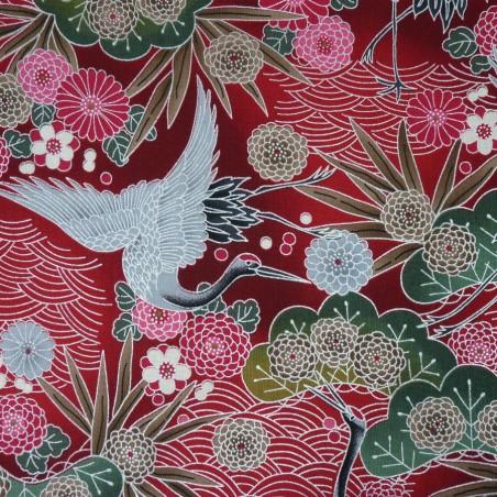 Tissu japonais fuchsia et argenté avec grues feuilles fleurs