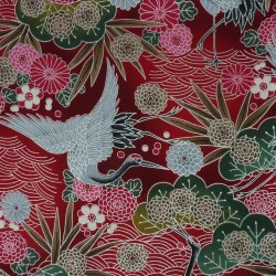 Tissu japonais en coton fuchsia et argenté avec grues feuilles fleurs