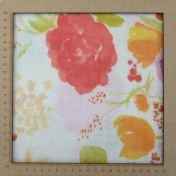Creme white double gauze with colorful flowers patterns