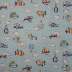 Double gaze bleu ciel avions montgolfières et nuages