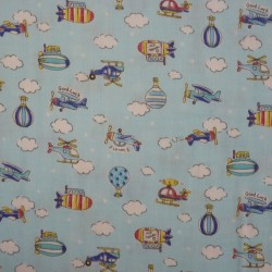 Light blue double gauze with planes, balloons and clouds