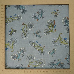 Bicycle fabric in cotton linen on grey background