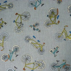 Bike fabric in cotton linen on grey background